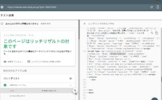 リッチリザルトテストのレンダリングHTML表示画面