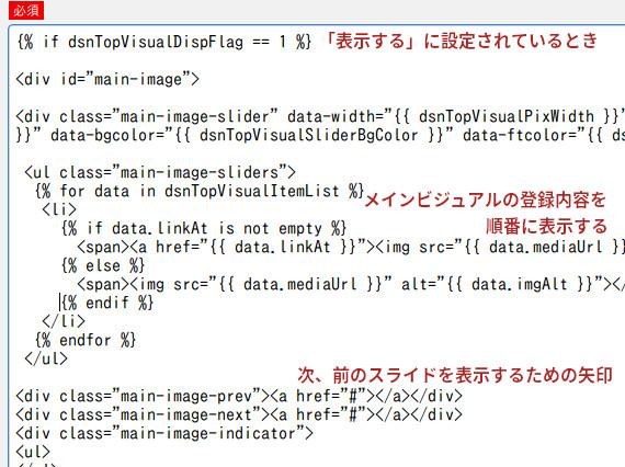 メインビジュアルのHTMLカスタマイズ画面